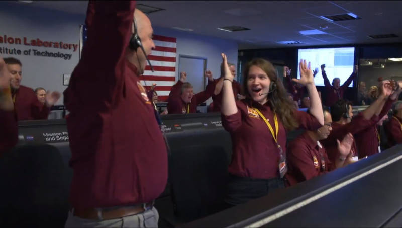 Controllers in Mission Control at the Jet Propulsion Laboratory reacting to news of InSIGHT's successful landing.