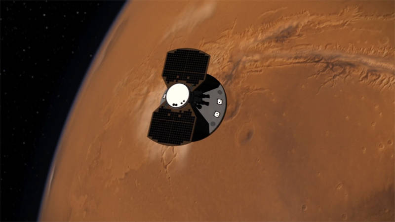 Artist illustration of the InSIGHT spacecraft approaching Mars for its November 26th entry, descent, and landing.