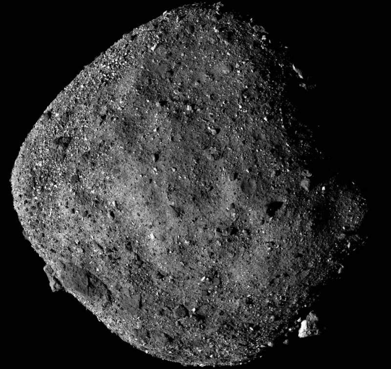 Image of asteroid Bennu captured by NASA;s OSIRIS REx spacecraft, now on final orbital approach.