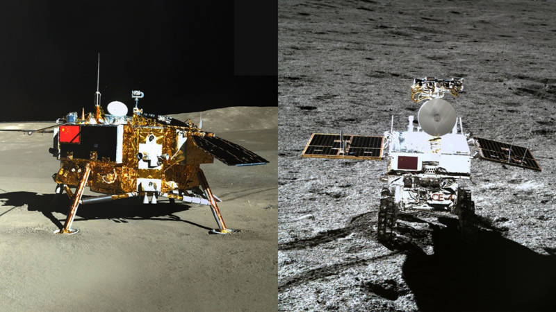 Picture of the Chang'e 4 lander (left) taken by the Yutu-2 rover, and of the rover (right) taken from Chang'e 4.