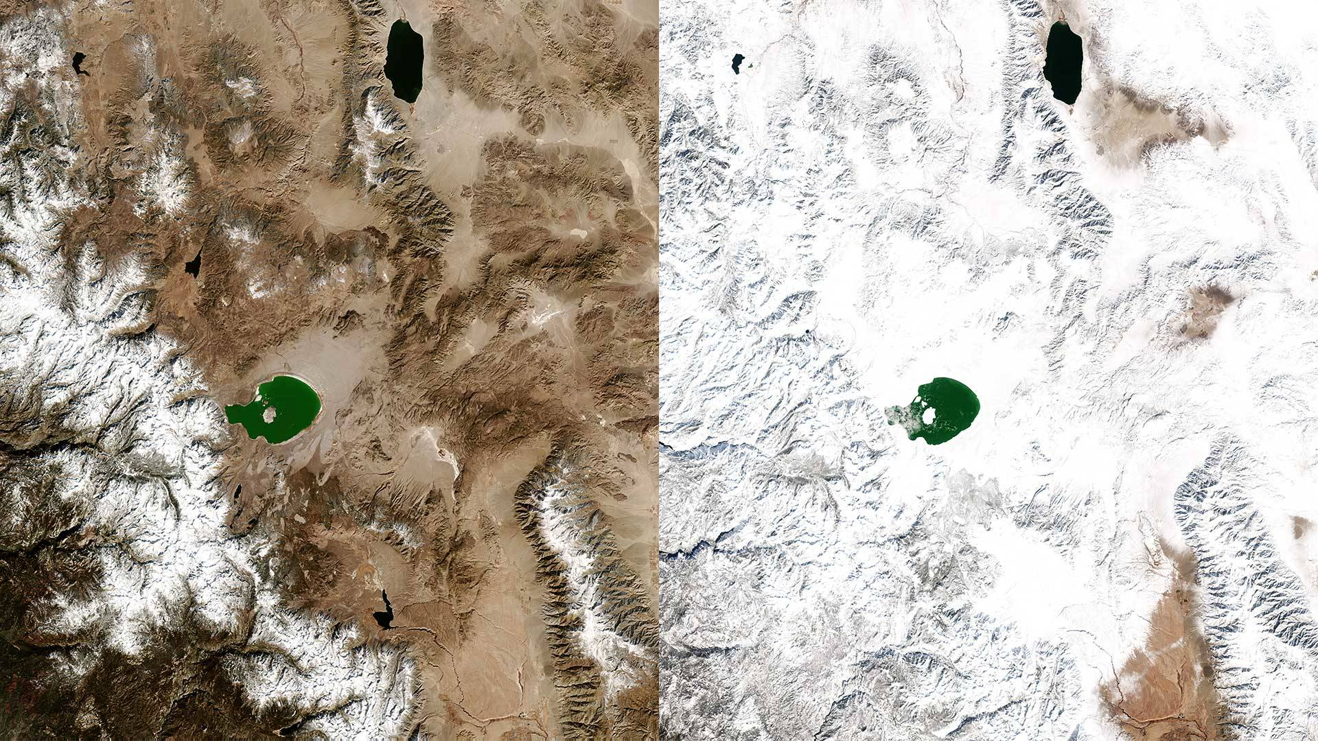 Satellite view of the Sierra Nevada and western Nevada from Yosemite National Park, at lower left, to Walker Lake, at the top of the images toward the right. The 'before' image was taken Feb. 16, 2018; the 'after' image on Feb. 11, 2019. Planet
