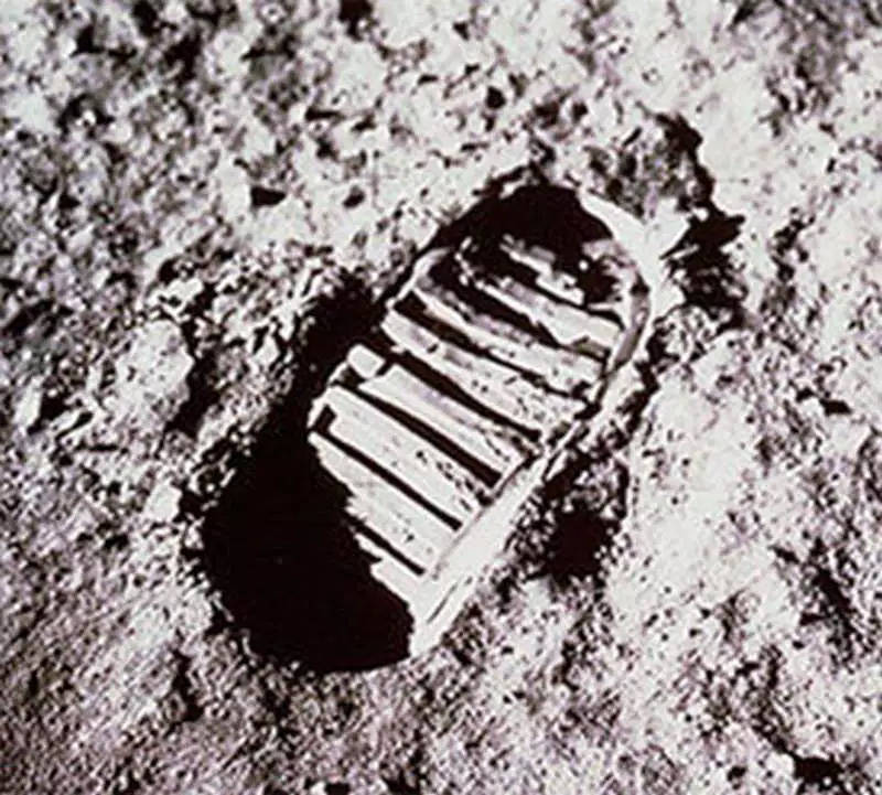 The first footprint (or bootprint) on the moon, made by Neil Armstrong on the Apollo 11 mission, July 20 1969.