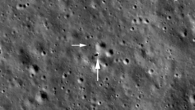 Picture of Chang'e 4 (center) and its Yutu-2 rover (smaller spot toward the upper left), captured by NASA's Lunar Reconnaissance Orbiter when it passed 50 miles above.