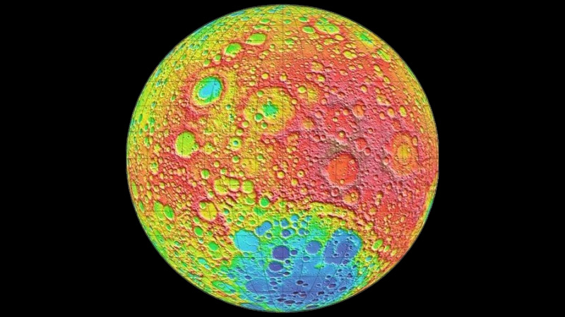 False-colored surface altitude map of the moon's far side, produced by the LOLA instrument on board NASA's Lunar Reconnaissance Orbiter. Red shows the highest elevations and blue the lowest. The large blue-colored lowlands at the bottom is the enormous South Pole-Aitken Basin, the impact crater that China's Chang'e 4 lander is currently exploring.   NASA/GSFC/MIT