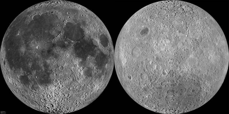 The moon's near and far hemispheres: the side that faces Earth (left) and the far side that we cannot see.