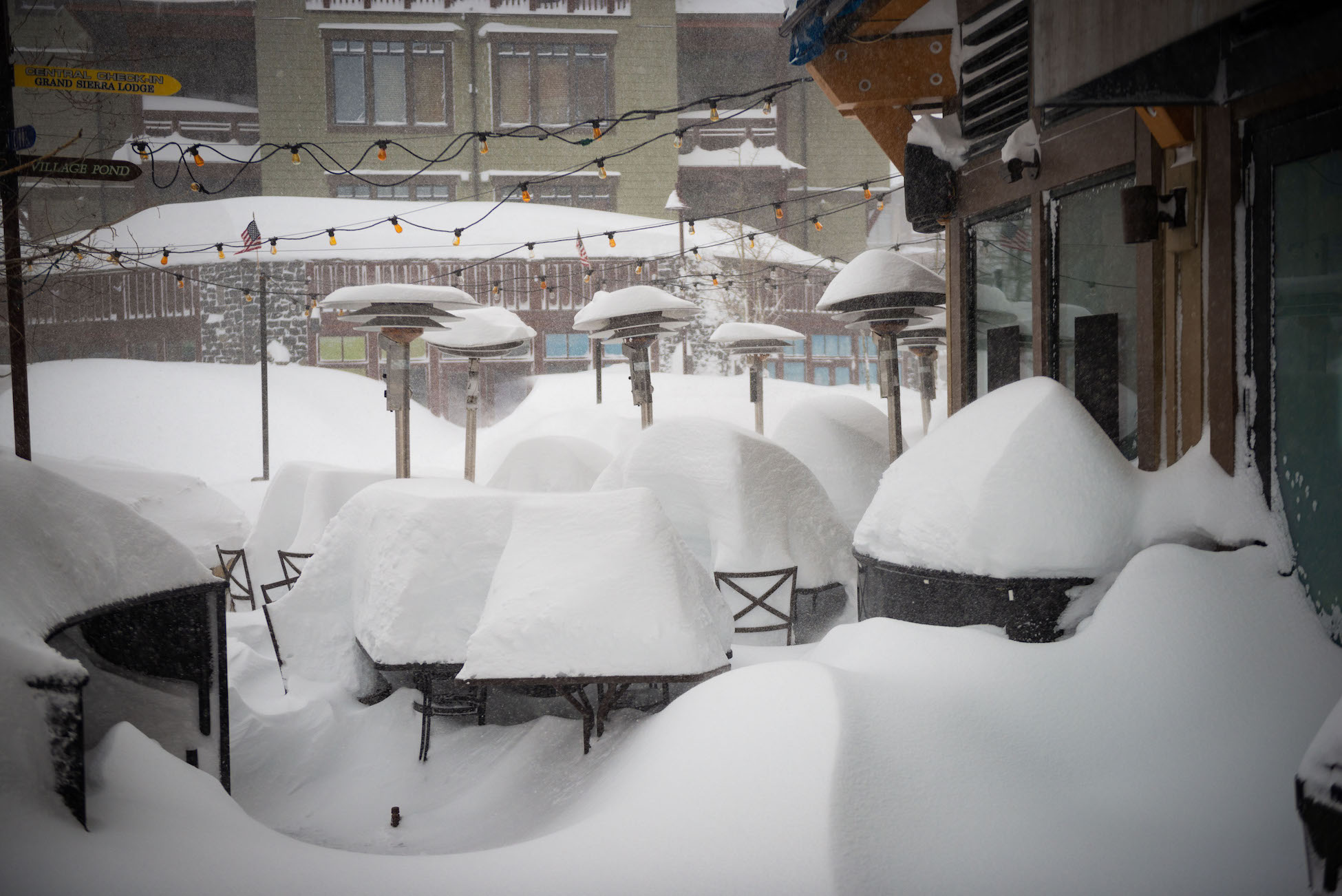 Photo: snow piled on tables