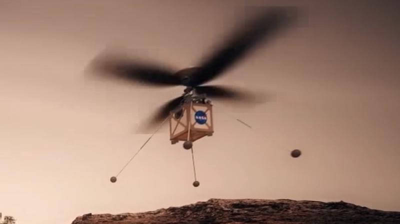 Artist depiction of the Mars Helicopter in flight on Mars.