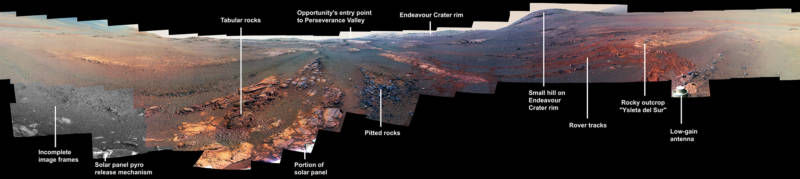 In the final days of its 15-year trek on Mars, the rover Opportunity captured this sweeping panorama from its final resting place in Perseverance Valley.