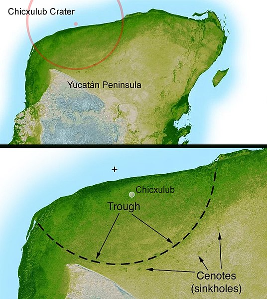 Diagram detailing the remnants of the Chixulub impact crater on the Yucatan Peninsula. Though now buried under jungle and ocean sediment, evidence of the crater can be found through radar imaging and mineral analysis of rock samples.
