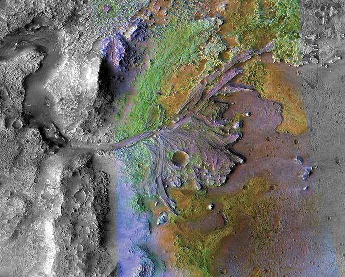 Color-enhanced image of Jezero Delta, a portion of Jezero Crater, the chosen landing destination for the Mars 2020 rover. The color enhancements indicate varying mineral content, with green showing water-formed clay deposits. Image created from measurements by the Mars Reconnaissance Orbiter.