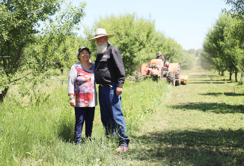 Rosie and Ward Burroughs, of Burroughs Family Farms in Denair, stand in the cover crops in their organic almond orchard. The cover crops will soon be mowed down in preparation for the harvest. These plants and grasses under the almond grove bring a variety of microbes to the soil, which enhances the health of the soil and growth of the trees.