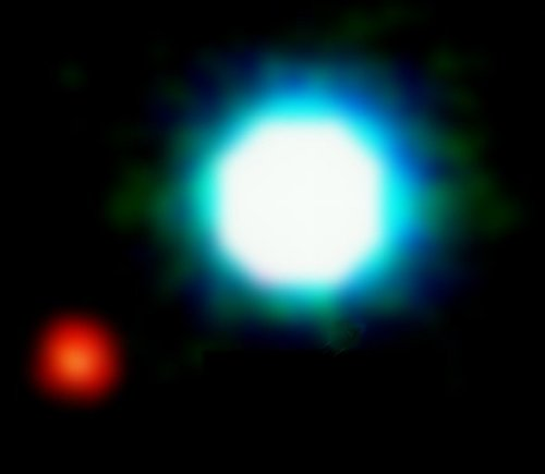 Most exoplanets are too far away and too small to be captured directly in an image, and are detected indirectly. This image is one of the first, and few, direct images of an exoplanet (small red blotch), shown next to its star.