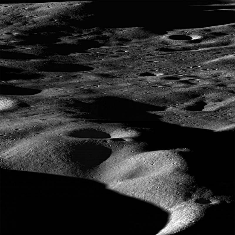 View looking toward the north rim of Cabeus Crater from the southwest, near the moon's south pole. NASA's LCROSS impactor vehicle struck the moon directly below the bottom center of this picture.