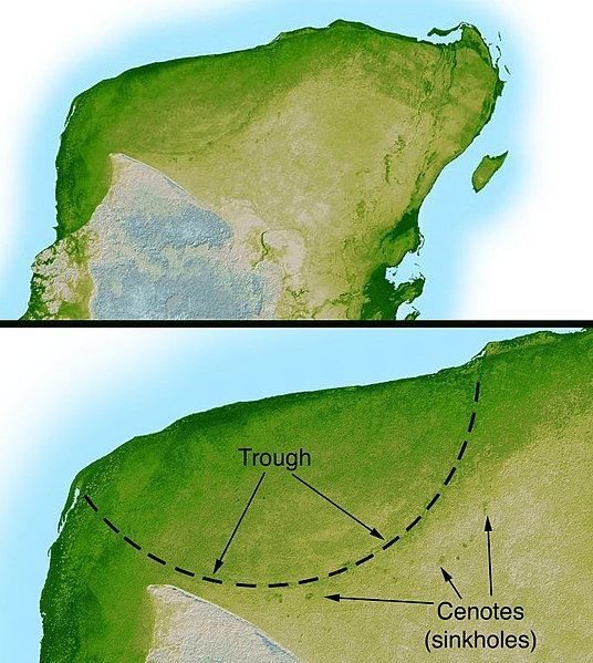 A map of the northern Yucatan Peninsula showing the barely visible remnants of the Chixulub impact crater, formed by an asteroid strike about 66 million years ago.