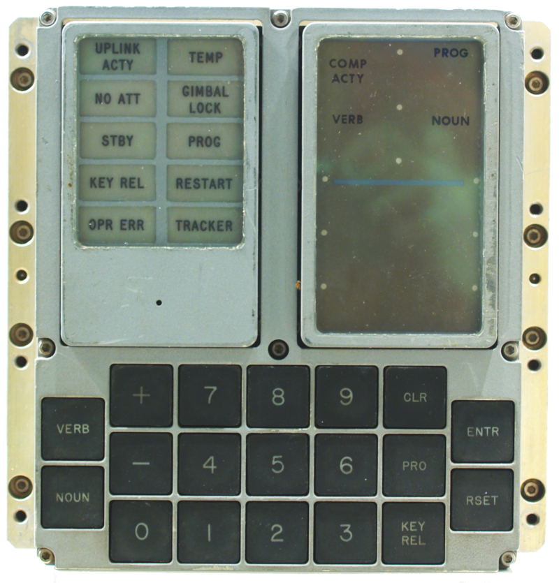 The main display and keyboard for the Apollo 13 navigation computer.