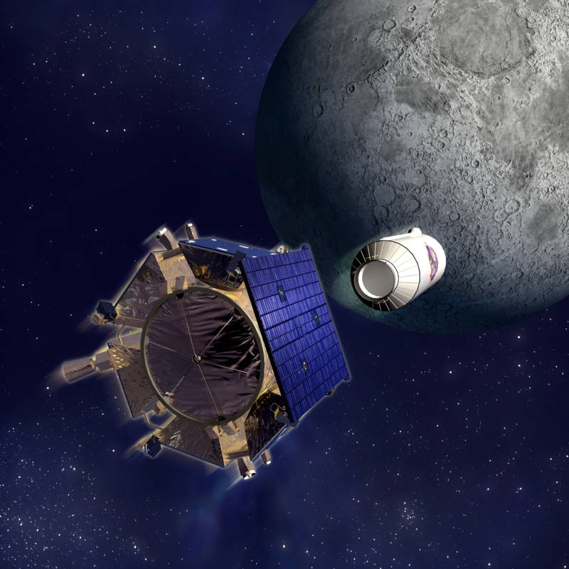Artist concept of NASA's LCROSS spacecraft (foreground) preceded in its course to crash into the moon's south pole by an impactor vehicle (the Centaur rocket that propelled it to the moon). The impactor blasted up a plume of dust in which LCROSS identified water molecules, confirming the hypothesis that some shadowed polar craters harbor water ice.
