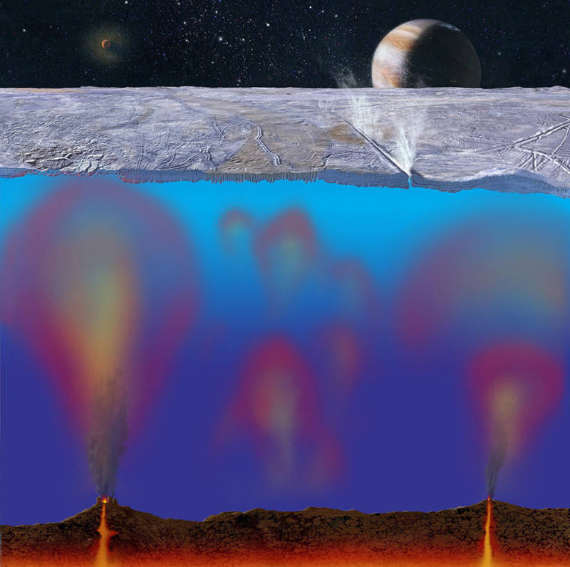 Artist concept of Europa's ice-topped ocean, showing hydrothermal vents injecting heat and chemicals into the waters.