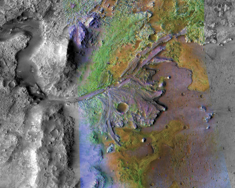 Image of an ancient river delta deposit at the edge of Jezero Crater, captured by NASA's Mars Reconnaissance Orbiter.