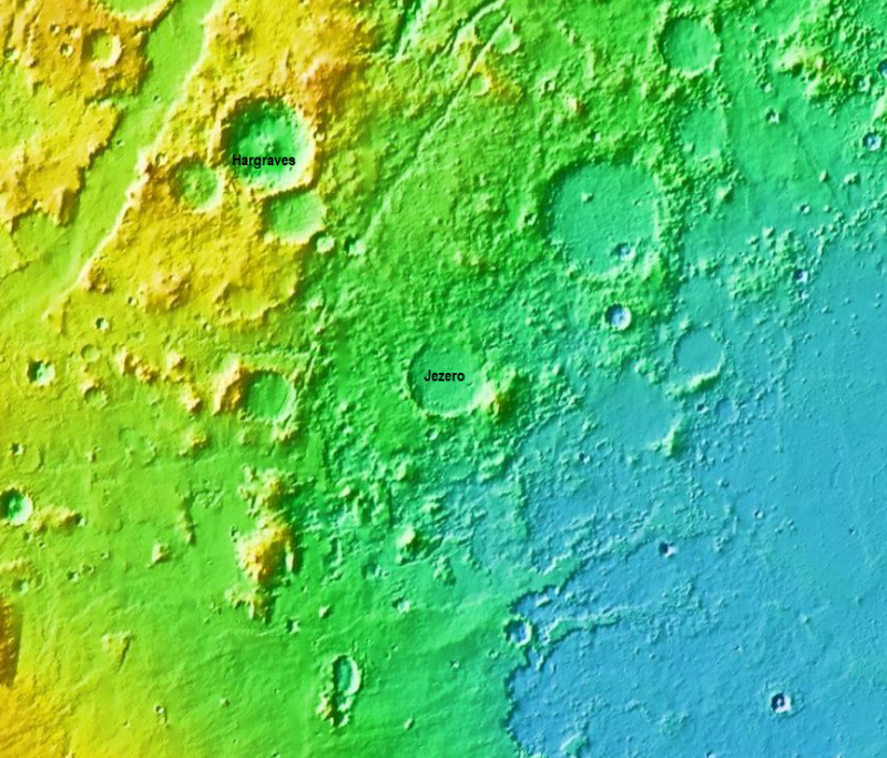 False-colored elevation map of the region surrounding Jezero Crater (center) on Mars. Blue shows the northwestern corner of Isidris Planitia.