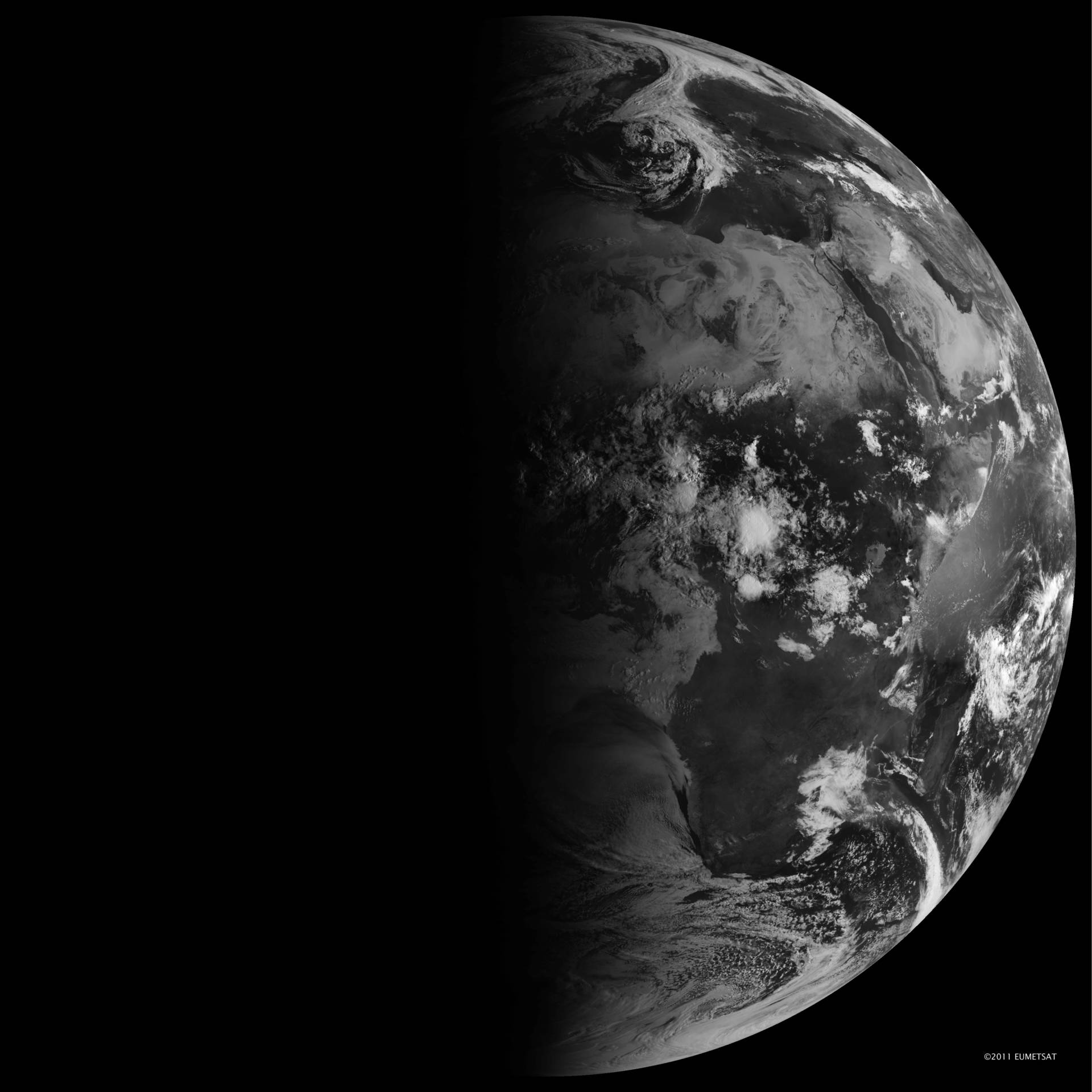 The autumnal equinox from space, captured from geosynchronous orbit with EUMETSAT's Meteosat-9 satellite. EUMETSAT