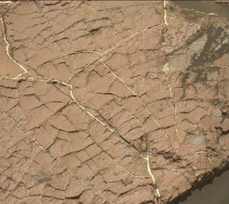 "Cracks in the mudstone slab called ""Old Soaker,"" whose formation dates back more than 3 billion years, may have formed in drying mud, as Mars experienced a global transition to a drying climate."