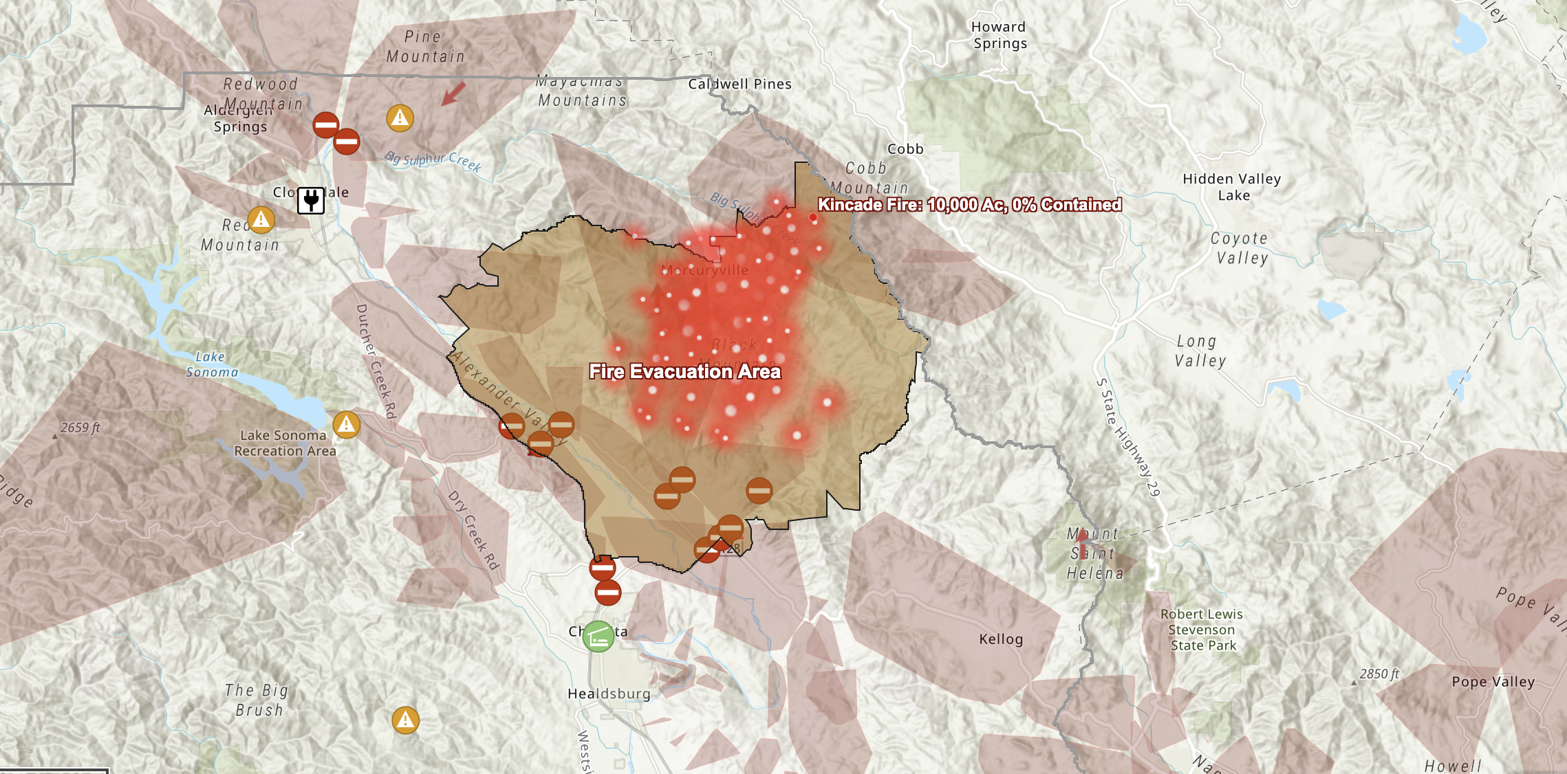 Map of Kincade Fire in Sonoma County | KQED Science California Fires Location Map on california current wildfire forest fires, 2014 southern california wildfire map, california fire tax map, california fire map los angeles, california fire zone map, sacramento california wildfire map, current california wildfire map, california fires burning now, california fire temperature map, sand el dorado county fire map, southern california fires map,