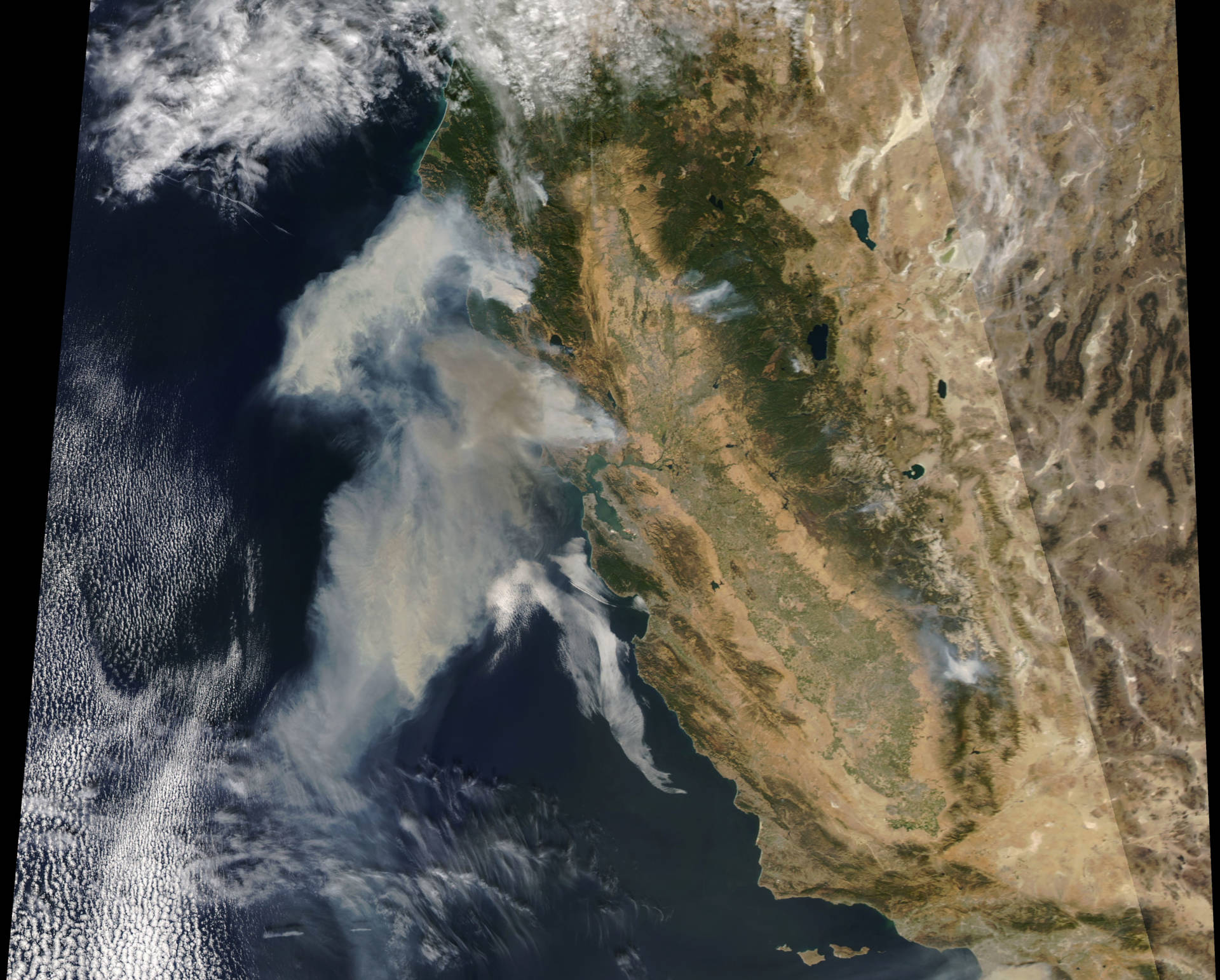 Diablo winds are driven by atmospheric high-pressure systems over the Great Basin. Here, the smoke from the October 2017 North Bay fires as captured by a NASA satellite.