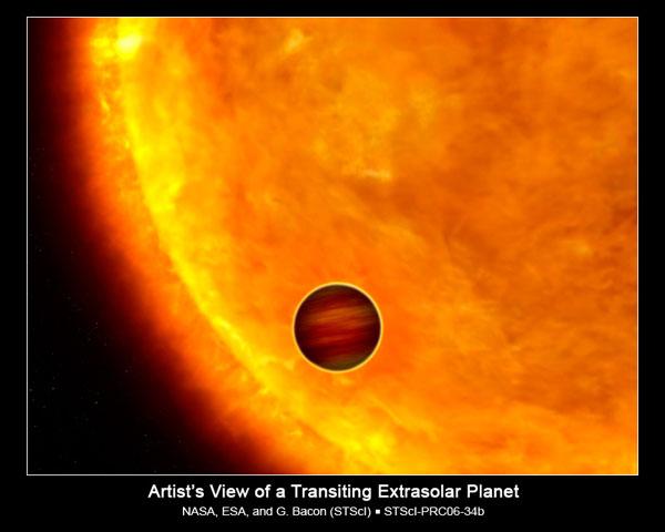 """Artist illustration of a """"Hot Jupiter"""" extrasolar planet transiting its star."""
