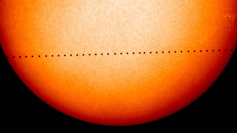 A composite image showing the progress of Mercury across the sun's face during the November 2006 Transit of Mercury. Images captured by the ESA's SOHO spacecraft.
