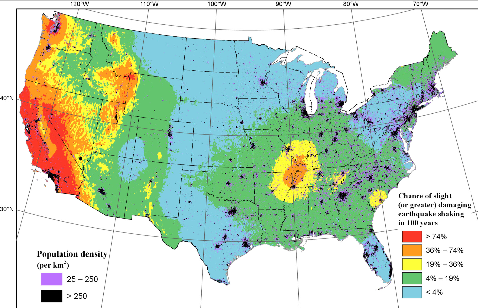 Map: Earthquake Shake Zones Around the U.S.
