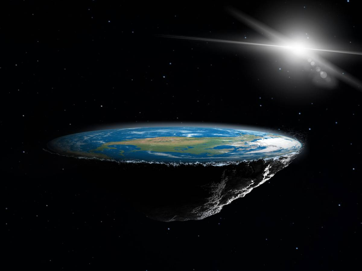 Artist's conception of Earth with a flat surfac