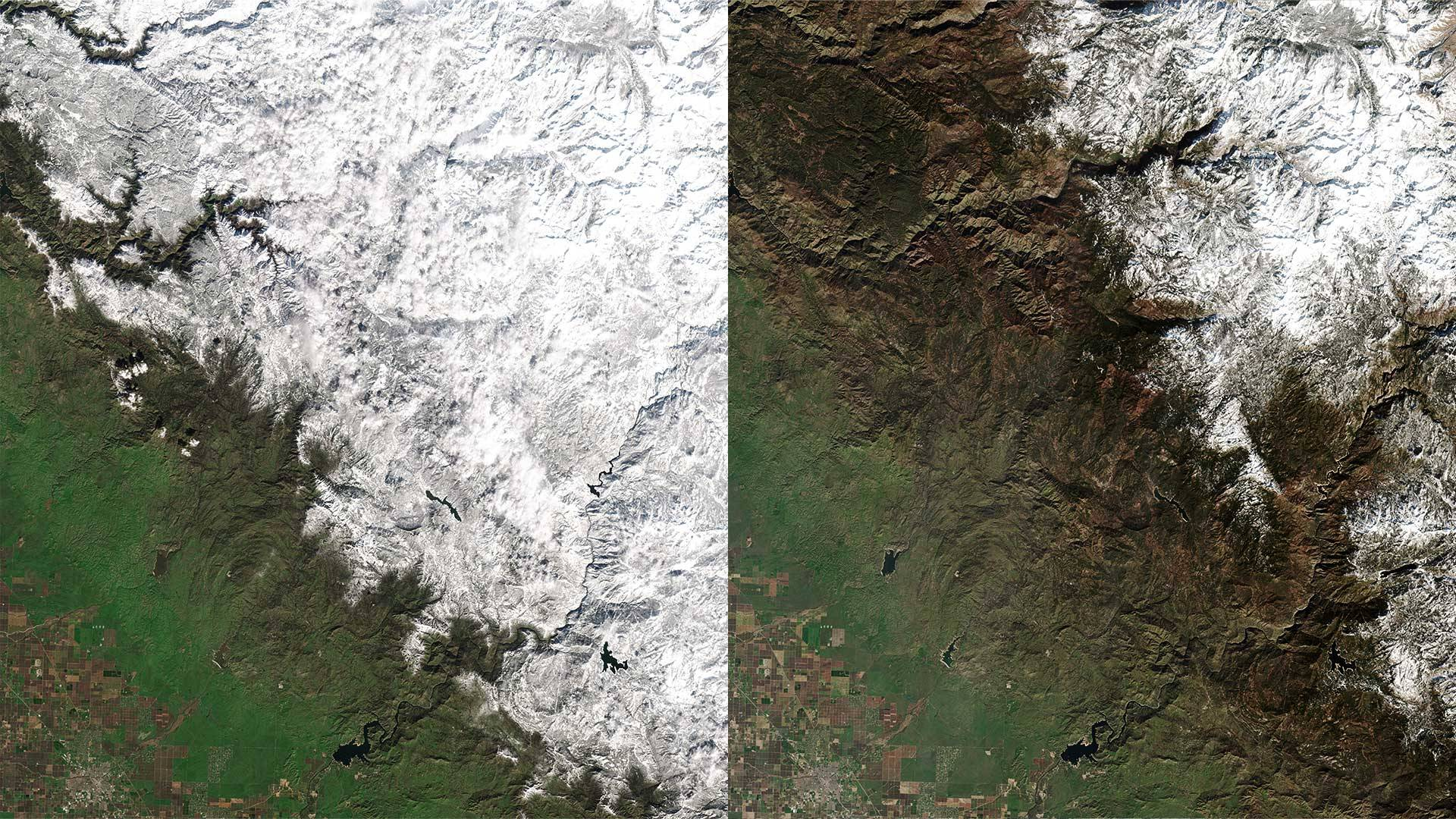 Satellite view of Yosemite Valley. The 'before' image was taken Feb. 6, 2019; the 'after' image on Feb. 1, 2020. Planet