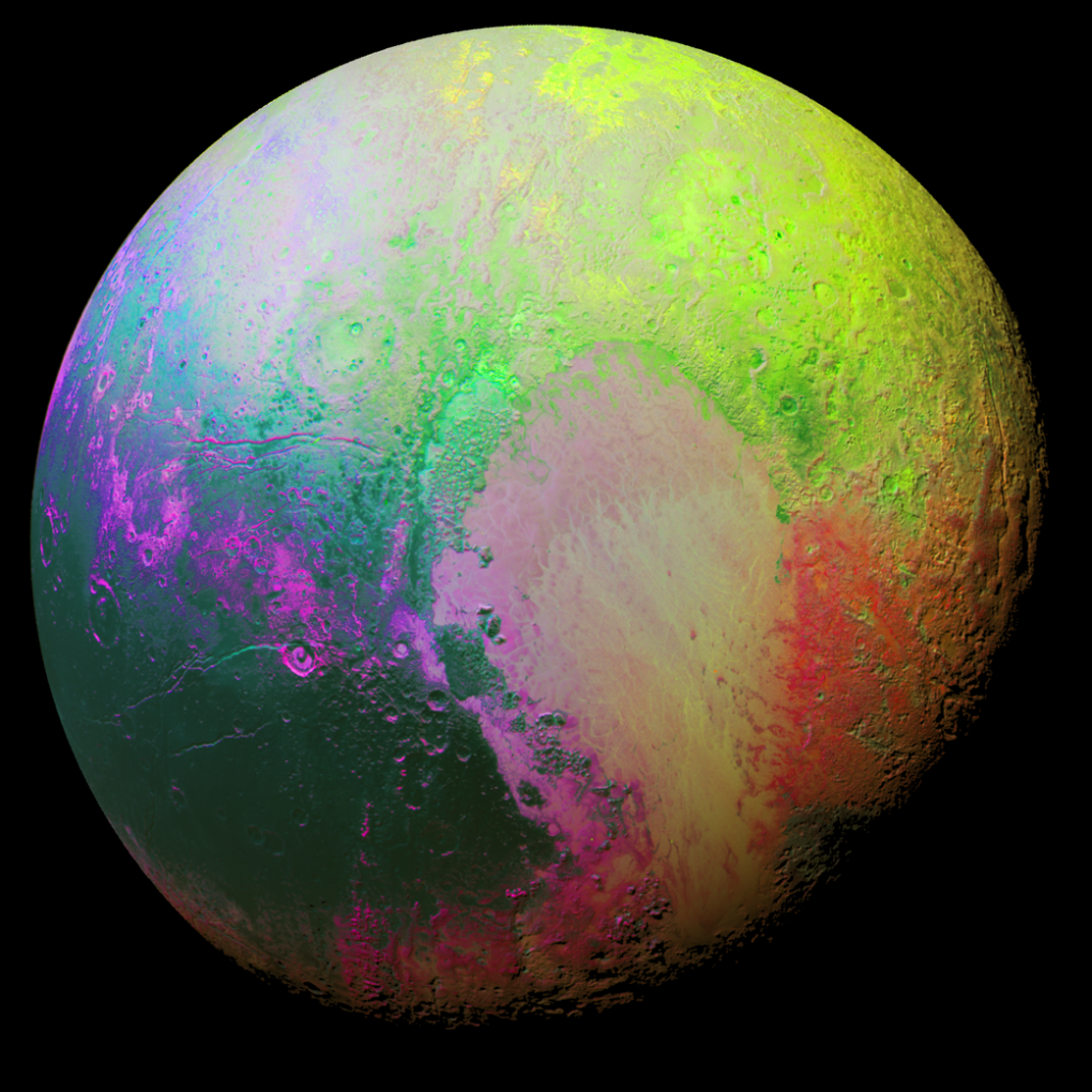 Pluto appears psychedelic in this false color image, made using a technique to highlight subtle color differences between Pluto's regions.  NASA/JHUAPL/SwRI