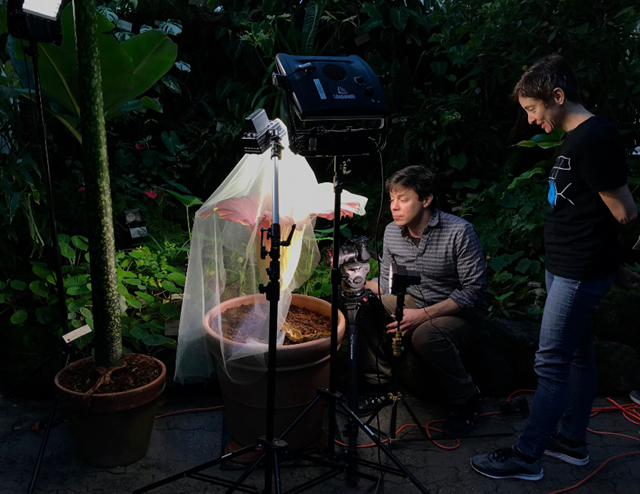 "Media producer Josh Cassidy and QUEST Executive producer Jason Black filming Science on the SPOT's short video, ""Shadows and Spiders : A Secret Cave in California."""