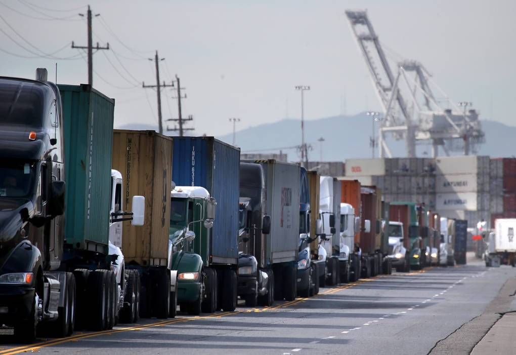 Trucks line up to enter a berth at the Port of Oakland on February 11, 2015 in West Oakland, California. Justin Sullivan/Getty Images