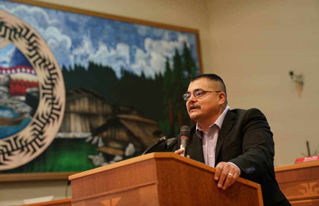 Yurok Chairman Joseph James at an in-person Tribal Council meeting, which took place before the pandemic began. Tribal Council meetings are now virtual.