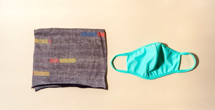 A gray neck gaiter with small yellow, red and blue bands of color, and a turquoise cloth mask. with fabric ear handles.