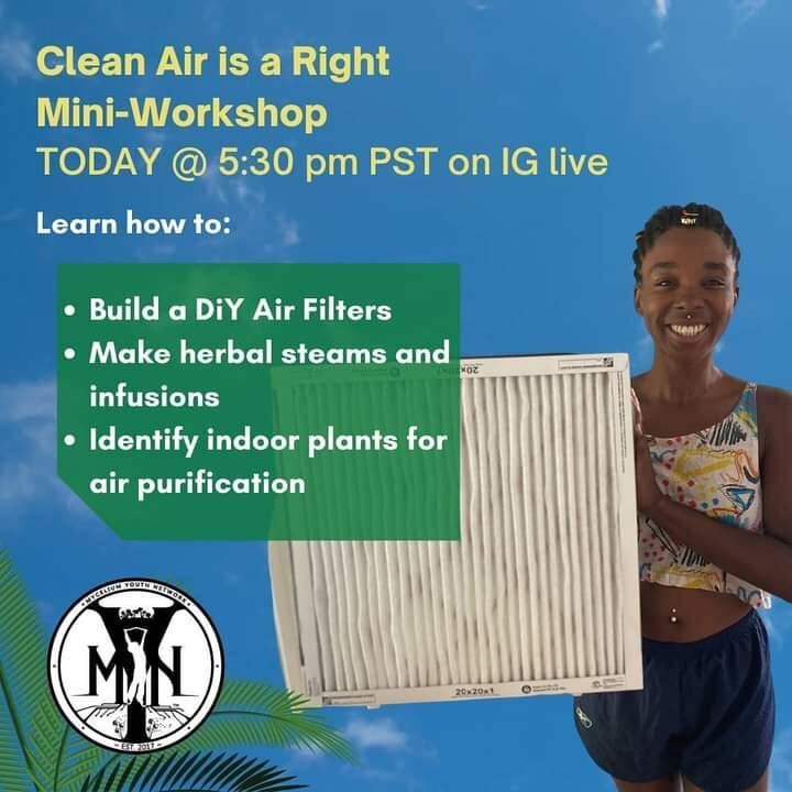 An image publicizing Mycelium Youth Network's free online tutorial in how to make your own air purifier.