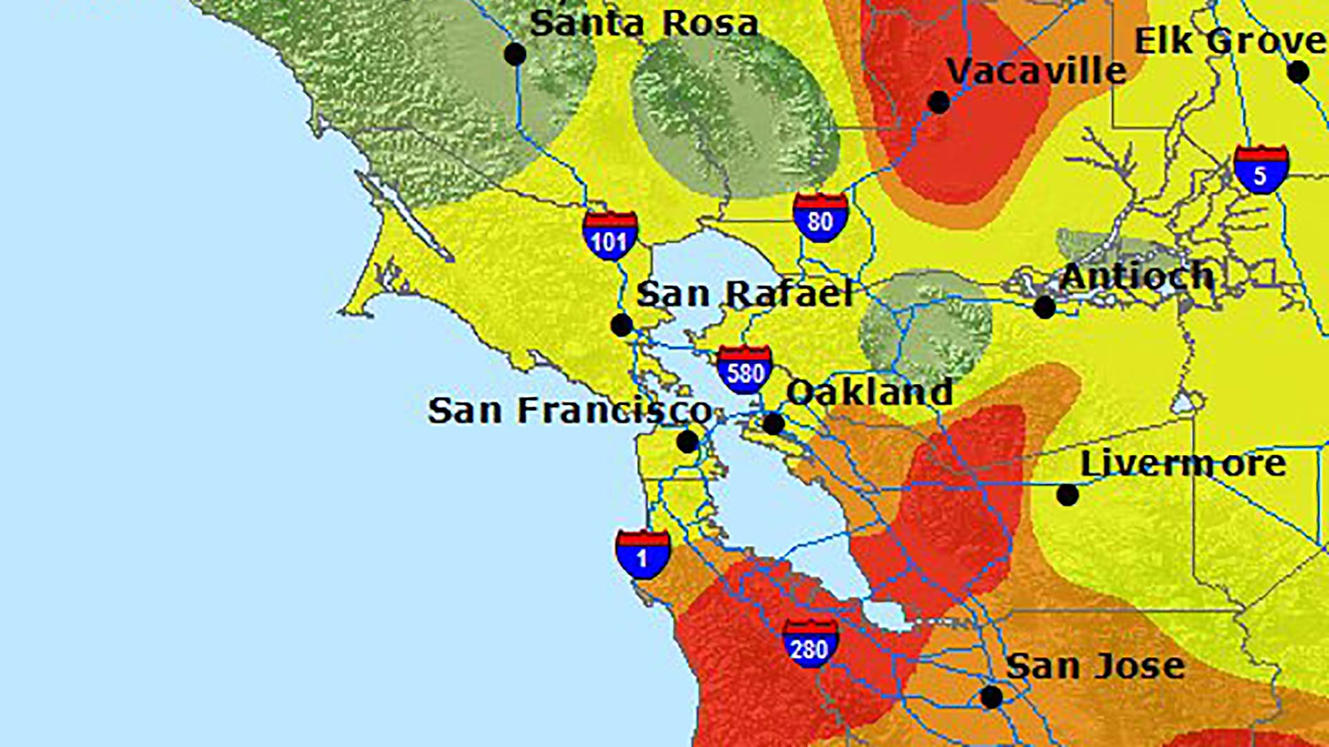 Map Here S Your Current Air Quality Report For The Bay Area Kqed Bathymetry is the measurement of water depth in oceans, seas, or lakes. map here s your current air quality