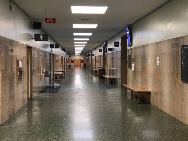 Photo: empty corridor at SF Hall of Justice