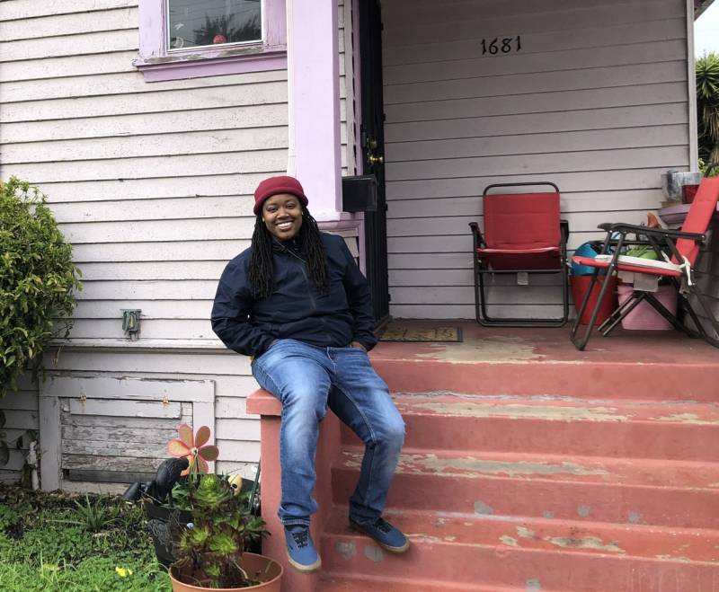 Marquita Price outside her grandmother's house in East Oakland. When she learned about the threat of rising groundwater, her thoughts turned to family health, and their assets like this home.