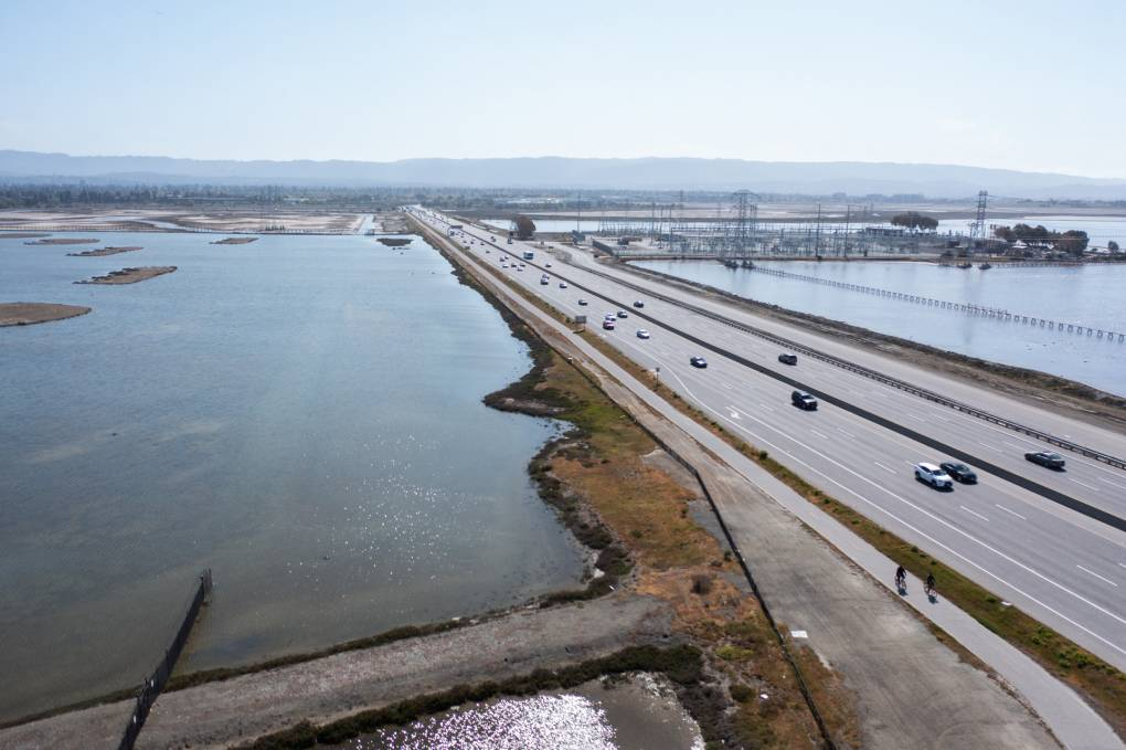 The Dumbarton Bridge near the East Palo shoreline and other Bay Area infrastrucure are at major risk from flooding as sea level rise and climate change accelerate.
