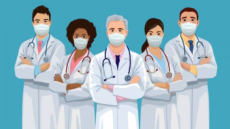 an illustration of a group of doctors with face masks standing with their arms crossed, looking forward