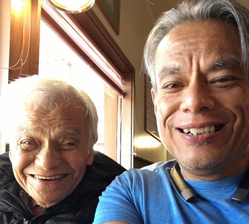 Vince Crisostomo snaps a selfie of he and his father Francsico Crisostomo a few years before his Francisco dies of COVID-19 alone in a hospital.