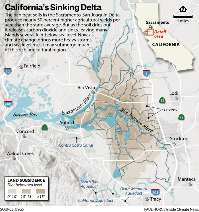 A color coded map shows land sibsidance in the Sacramento Delta Valley