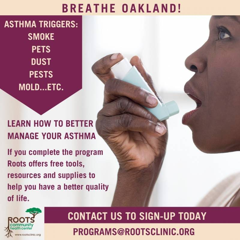 A Roots Community Health Program flyer advertises a program in which it partners with the Bay Area Air Quality Management District. One aspect of this program involves receiving a free air purifier for your home.