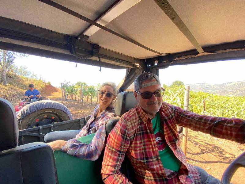 The winemakers tour the vineyard in a jeep showcasing how the fire surrounded the vineyard.
