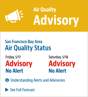 Yellow sign announcing air quality advisory