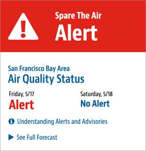 Red sign announcing air quality advisory