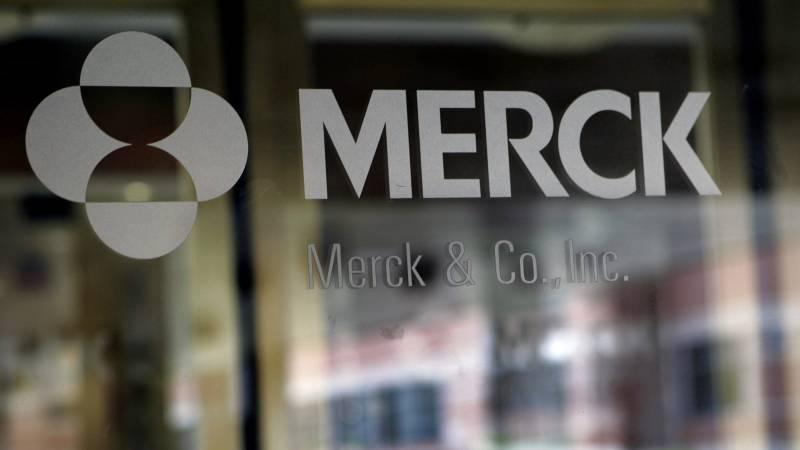 Drugmaker Merck's logo placed on a window.